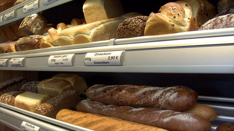 german bakery shop different breads dolly up 10753 Stock Video Footage