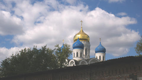 clouds over orthodox church Stock Video Footage