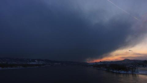 Winter river sundown Stock Video Footage
