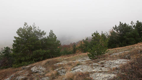 Movement of the clouds on the mountain Demerdji. Alushta,... Stock Video Footage