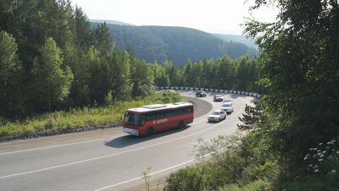 Mountain road traffic Stock Video Footage