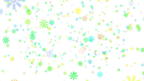 Snow on white background, colorful snowflakes, loop Stock Video Footage