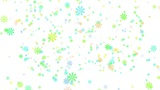 Snow on white background, colorful snowflakes, loop Animation