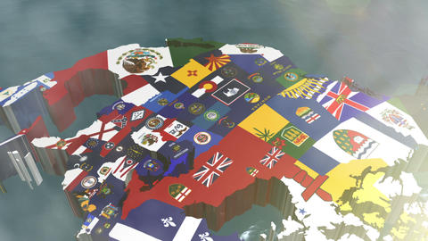 Zoom into USA State Flags on a 3D Map Stock Video Footage