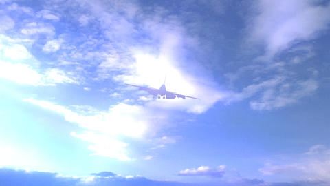 747 Jet Passing in Air during Light Fog Stock Video Footage