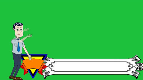 Businessman Cartoon Banner Lower Thirds: Loop Stock Video Footage