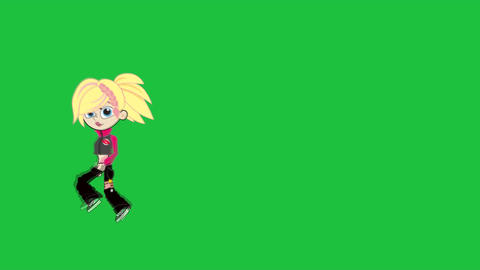 Cute Cartoon Girl Running (Right to Left) Stock Video Footage