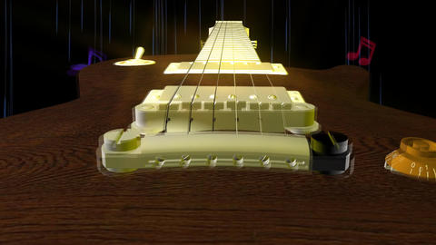 Guitar Fly By Animation Stock Video Footage