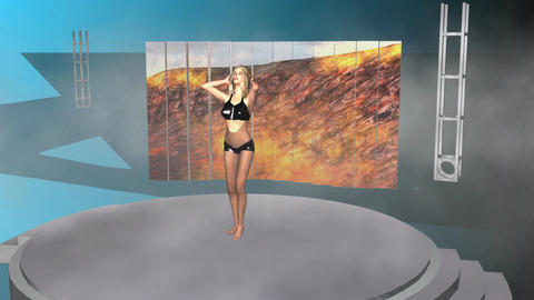 Blond Model Posing (Animated, 3 of 4) CG動画素材