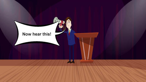 """Now Hear this"", Cartoon Announcer Animation Stock Video Footage"