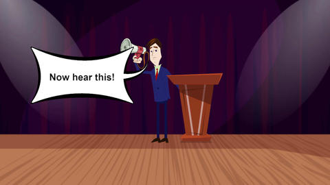 """Now Hear this"", Cartoon Announcer Animation Animation"