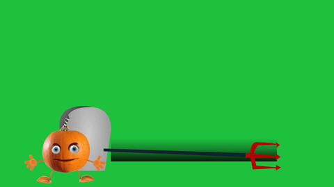 Halloween Pumpkin Lower Thirds Stock Video Footage