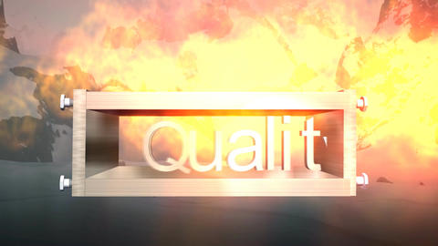 """""""Quality"""" Logo Box with Mountain Snowscape Backgro Stock Video Footage"""