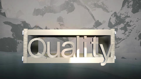 """Quality"" Logo Box with Mountain Snowscape Backgro Animation"