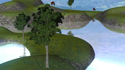Idyllic River Scene (Animated) Stock Video Footage
