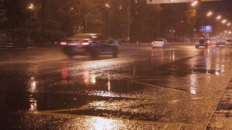cars go at night in the rain sound Stock Video Footage