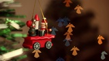 Christmas-tree decorations on angel-shaped background Footage
