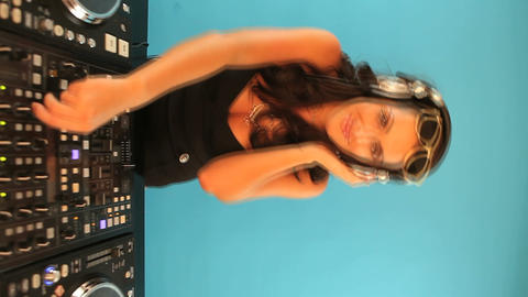 Female DJ waving her hands Stock Video Footage