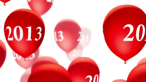 Balloons 2013 Red on White (Loop) Stock Video Footage