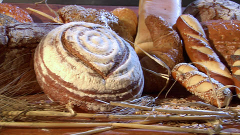 german bakery many different breads dolly quick 10765 Stock Video Footage