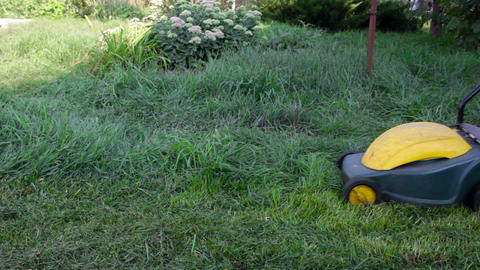 A man mows the grass Stock Video Footage