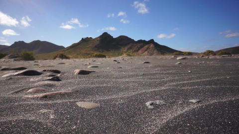 Black Sand Wind Erosion Stock Video Footage