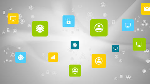 Bright communication icons on grey wavy animated background Animation