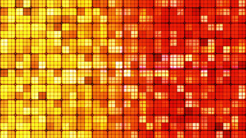 Broadcast Twinkling Hi-Tech Cubes, Yellow Red, Abstract, Loopable, HD Animation