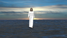 Jesus goes through the water, biblical story, religion, Christianity Animation