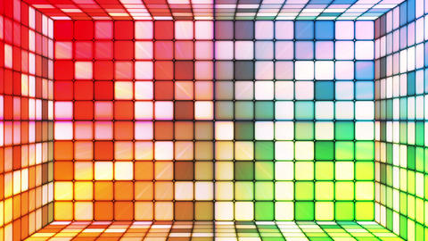 Broadcast Twinkling Hi-Tech Cubes Room, Multi Color, Abstract, Loopable, HD Animation