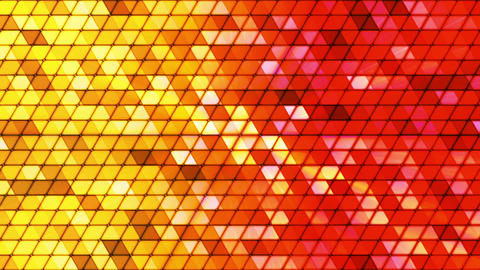 Broadcast Twinkling Cubic Hi-Tech Triangles, Yellow Red, Abstract, Loopable, HD Animation