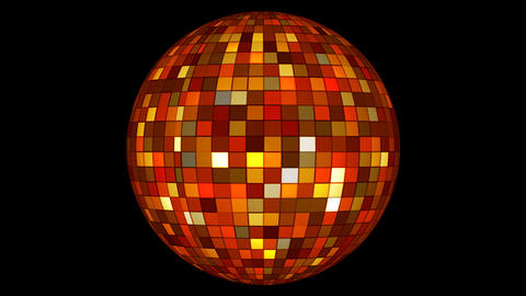 Twinkling Hi-Tech Squares Spinning Globe, Orange, Corporate, Alpha, Loop, HD Animation