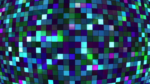 Broadcast Twinkling Hi-Tech Squares Globe, Blue Turquoise, Abstract, Loopable, Animation