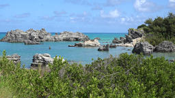 Bermuda islands bay with a rocky shore and blue water Footage