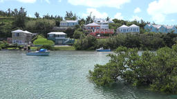 Bermuda islands estates with colorful Caribbean houses at the shore Footage