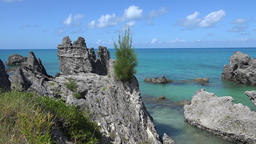 Bermuda islands bay with turquoise water and rocks Footage