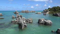 Bermuda islands natural bay with rustic rocks in turquoise water Footage