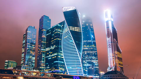 Timelapse and hyperlapse of Moscow city international business district at night Footage