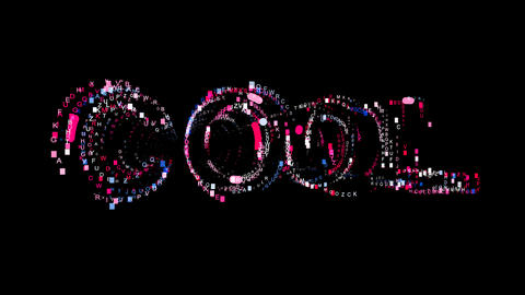 Letters are collected in text COOL, then scattered into strips. Bright colors Animation