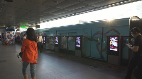 Unidentified peoples at BTS skytrain junction in service for people who live in Footage