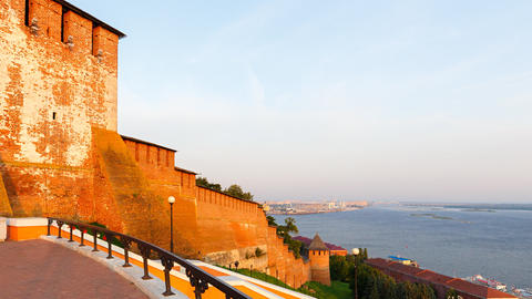 The walls and towers of the Nizhny Novgorod Kremlin. Dawn over the Volga. In the Footage