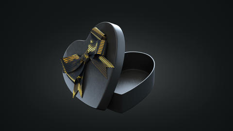 Loopable spin of open heart shaped gift box CG動画素材