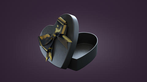 Loopable spin of open heart shaped gift box Animation