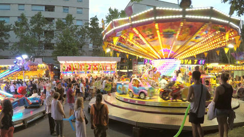 Carousel For Small Kids On Street Fair Image