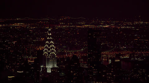 The panorama of the night New York, Rockefeller center, 4K Live Action