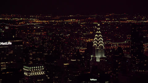 The panorama of the night NYC Rockefeller center Live Action
