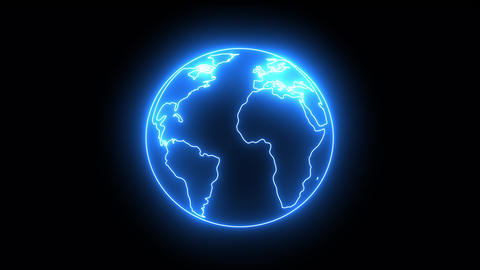 flickering blue neon light globe 4K Animation