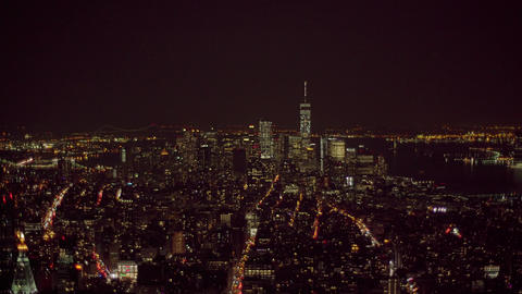 247 Downtown night aerial view NYC Footage