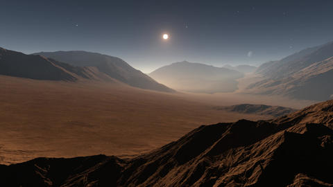 Sunset on Mars. Mars mountains, view from the valley Animation