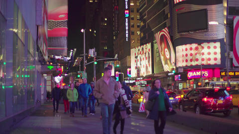Times Square In New York City At Night NYC Footage